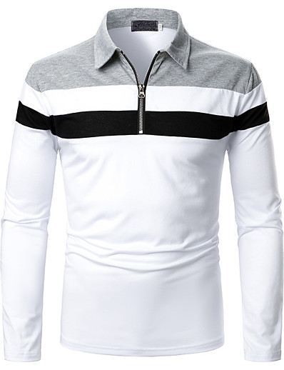 cheap Men's Tops-Men's Polo Other Prints Color Block Long Sleeve Daily Tops Streetwear White