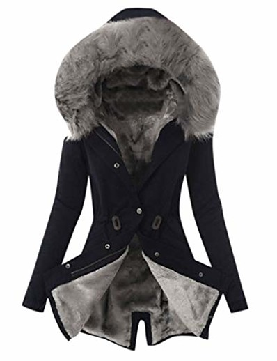 cheap Plus Size Outerwear-women's winter plus size overcoat fashion solid thick plush lining hooded coat ladies button long jacket black