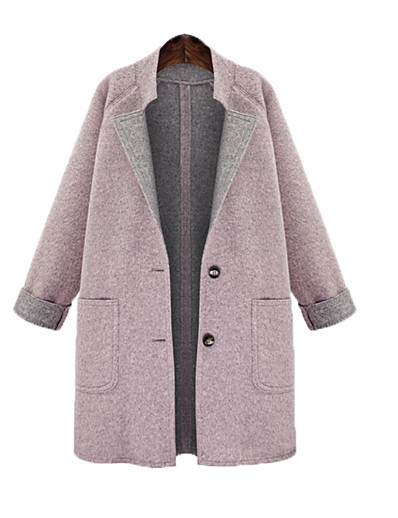 cheap Plus Size Outerwear-Women's Single Breasted Coat Long Solid Colored Daily Blushing Pink L XL XXL 3XL / Loose