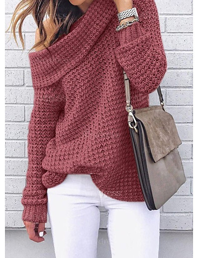 cheap NEW IN EXCLUSIVE-Women's Knitted Solid Color Pullover Long Sleeve Loose Sweater Cardigans One Shoulder Fall Winter Black Red Blushing Pink