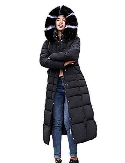 abordables Doudounes & Parkas Femme-manteau matelassé à capuche long hiver pour femmes avec bordure en fourrure (grand, noir)