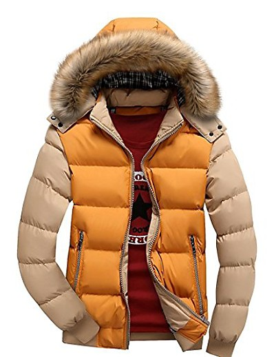 cheap Men's Outerwear-men's winter snow puffer coats fur hooded thick -padded quilted warm down jacket