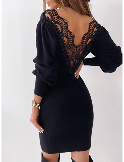 cheap Casual Dresses-Women's Sheath Dress Knee Length Dress Long Sleeve Solid Color Backless Lace Fall Casual 2021 White Black S M L XL