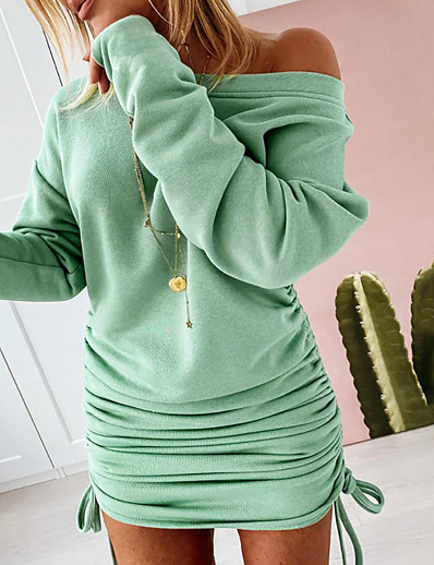 cheap Sweater Dresses-Women's Sheath Dress Short Mini Dress White Black Green Long Sleeve Solid Color Patchwork Fall Round Neck Elegant 2021 S M L XL