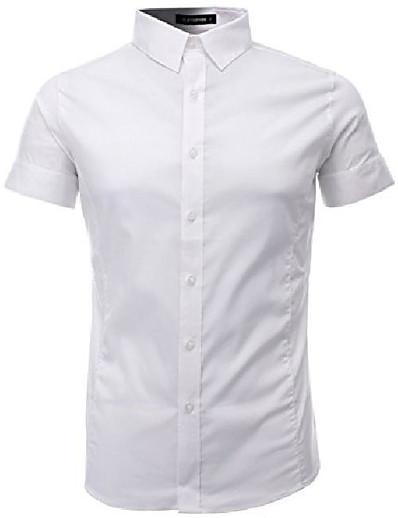 cheap MEN-mens slim fit basic dress shirts short sleeve (sh401) white, l