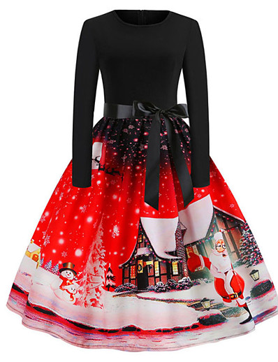 cheap Christmas Dresses-Women's A-Line Dress Knee Length Dress - Long Sleeve Print Bow Print Fall Vintage Christmas 2020 Blue Purple Red S M L XL XXL