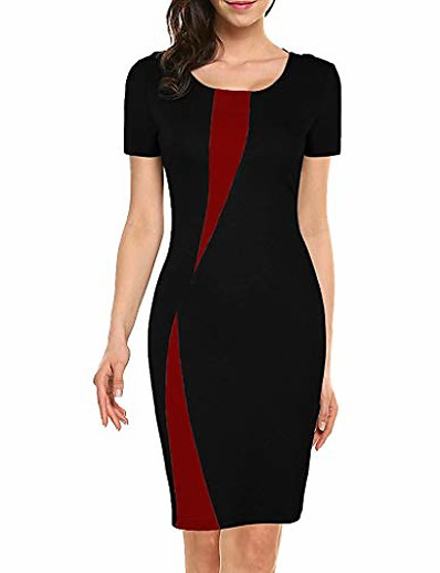 cheap Casual Dresses-women's wear to work short sleeve office work casual pencil dress bodycon formal business party church midi dress