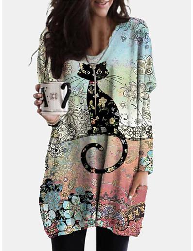 cheap MORE STYLE-Women's Shift Dress Short Mini Dress - Long Sleeve Print Animal Patchwork Print Spring Fall Casual Boho Cotton 2020 Blushing Pink L XL XXL 3XL 4XL 5XL