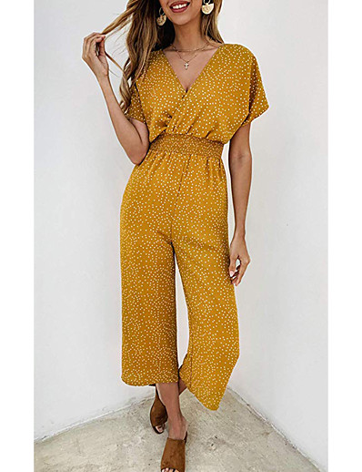 cheap JUMPSUITS & ROMPERS-Women's Punk & Gothic Boho Yellow Green Navy Blue Jumpsuit Polka Dot