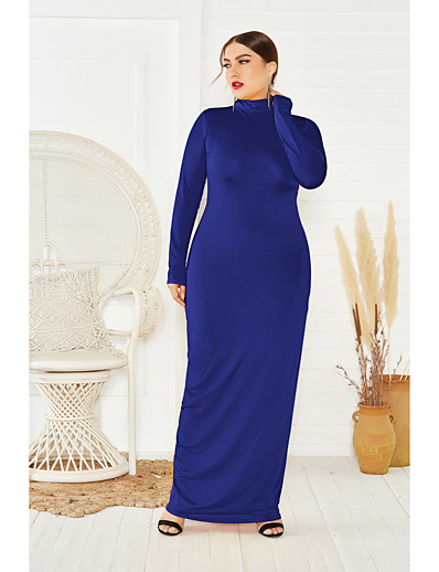 cheap PLUS SIZE-Women's Sheath Dress Maxi long Dress - Long Sleeve Solid Color Fall Plus Size Casual Party 2020 Black Purple Yellow Wine Green Dusty Blue Royal Blue Gray XXL 3XL 4XL 5XL