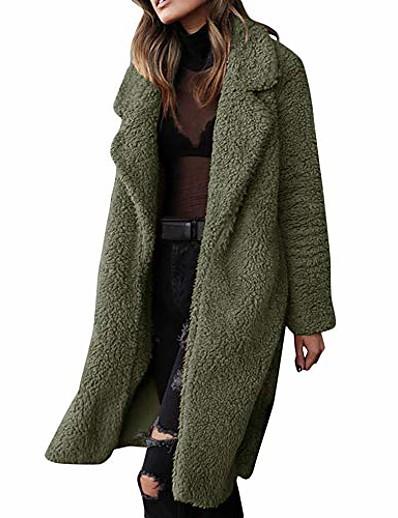 cheap Outerwear-coat outerwear,women faux fur fluffy fleece long cardigan open front warm lining trench windbreaker oversize (army green, us:18/3xl)