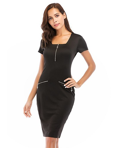 cheap NEW IN-Women's Sheath Dress Knee Length Dress - Short Sleeve Solid Color Zipper Summer Square Neck Sexy Party Cap Sleeve Skinny 2020 Black Blue Red S M L XL XXL