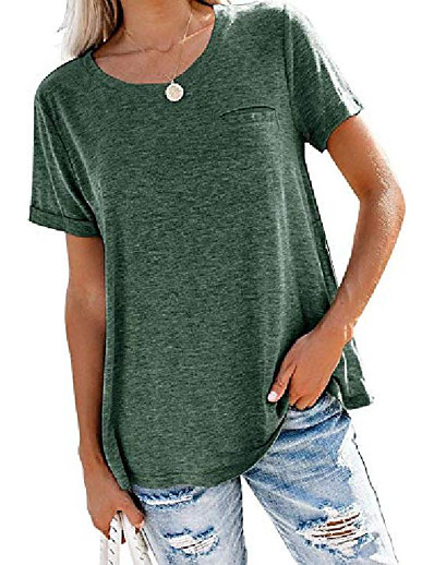 cheap TOPS-juniors shirts crewneck plus size boyfriend short sleeve summer tees tops,green l