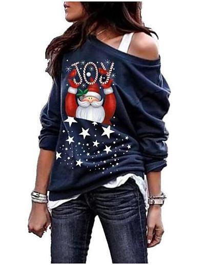 preiswerte Weihnachtsoberteile-Damen Übergrössen Weihnachten Pullover Sweatshirt Grafik Cartoon Design Kalte Schulter Freizeit Weihnachten Kapuzenpullover Sweatshirts Lose Weiß Schwarz Blau