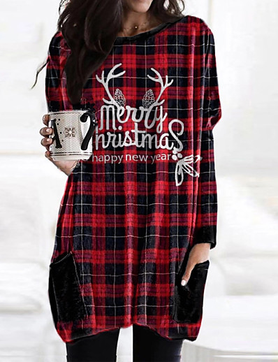 cheap Christmas Dresses-Women's T Shirt Dress Tee Dress Short Mini Dress - Long Sleeve Print Letter Fall Casual Christmas Loose 2020 Red Wine S M L XL XXL 3XL