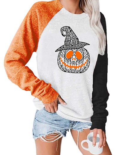 cheap 10/16/2020-Women's Daily Pullover Sweatshirt Letter Pumpkin Monograms Casual Halloween Hoodies Sweatshirts  White Black Orange