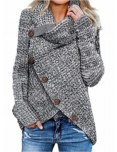 cheap NEW IN-Women's Knitted Button Solid Color Pullover Long Sleeve Sweater Cardigans Crew Neck Fall Winter Gray