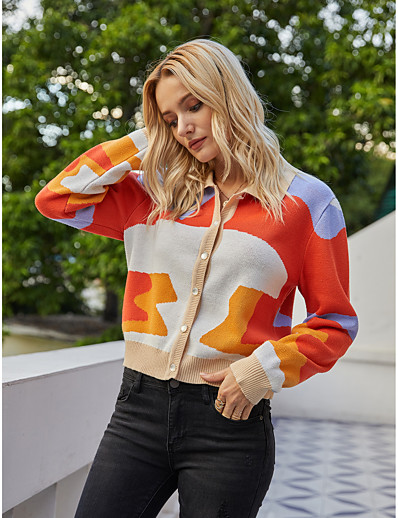 cheap 10/05/2020-Women's Basic Knitted Geometric Color Block Cardigan Long Sleeve Sweater Cardigans Shirt Collar Fall Winter Rainbow