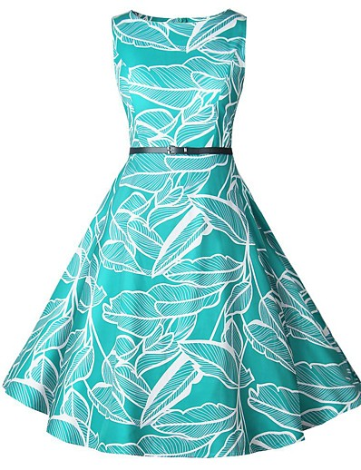 cheap NEW IN-Women's A-Line Dress Knee Length Dress - Sleeveless Print Print Summer Fall Elegant Vintage 2020 Green S M L XL XXL