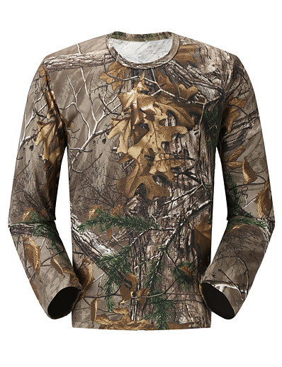 cheap SPORTSWEAR-Men's Hunting T-shirt Long Sleeve Outdoor Spring Summer Breathable Quick Dry Sweat-wicking Skin Friendly Classic Top Cotton Polyester Camping / Hiking Hunting Fishing Traveling Camouflage