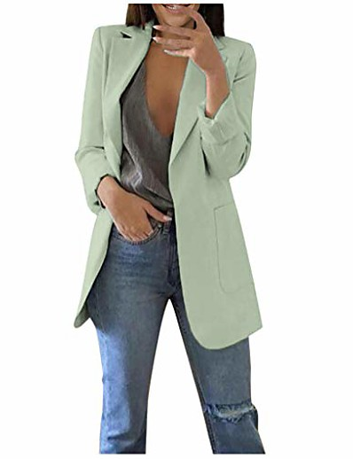 cheap Blazers-women's open front long sleeve work office blazer jacket cardigan casual basic leopard blazer suit mint green