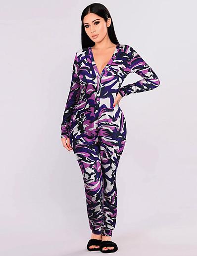 cheap Jumpsuits & Rompers-Women's White Blue Purple Jumpsuit Leopard Geometric