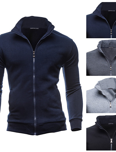 cheap Running, Jogging & Walking-Men's Long Sleeve Running Track Jacket Full Zip Outerwear Coat Top Casual Athleisure Winter Fleece Thermal Warm Breathable Soft Fitness Running Jogging Training Sportswear Solid Colored Normal Black