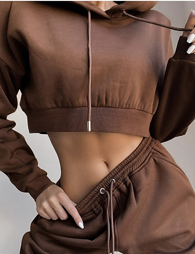 cheap Running, Jogging & Walking-Women's 2 Piece Cropped Street Athleisure Tracksuit Sweatsuit 2pcs Long Sleeve Winter Thermal Warm Breathable Soft Cotton Fitness Gym Workout Running Jogging Training Sportswear Solid Colored Hoodie