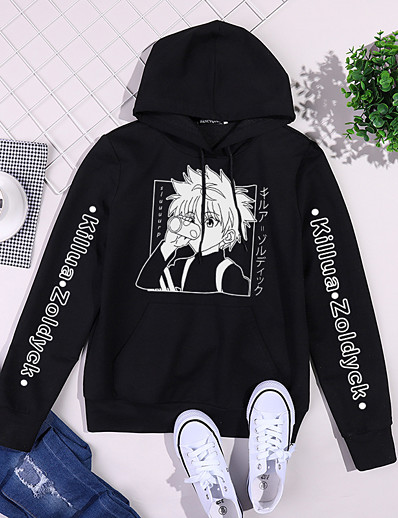 cheap Cosplay & Costumes-Inspired by Hunter X Hunter Killua Zoldyck Hoodie Anime Polyester / Cotton Blend Oil Painting Printing Harajuku Graphic Hoodie For Women's / Men's