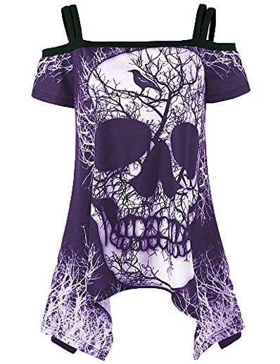 abordables NOUVELLE DANS-chemisier t-shirt irrégulier à manches courtes et épaules dénudées pour femmes (m, violet)