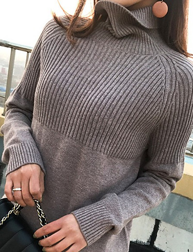 cheap Sweaters & Cardigans-Women's Knitted Solid Color Pullover Long Sleeve Sweater Cardigans Turtleneck Fall Winter Black Blue Blushing Pink