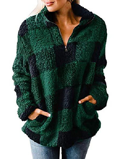 cheap Hoodies & Sweatshirts-women's autumn winter long sleeve zipper sherpa fleece sweatshirt pullover jacket coat