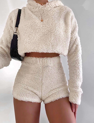cheap JUMPSUITS & ROMPERS-Women's Plain Two Piece Set Hooded Crop Shorts Tops