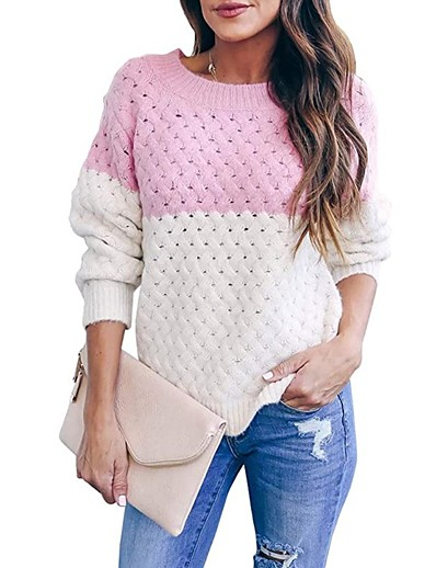 cheap TOPS-Women's Knitted Color Block Pullover Long Sleeve Sweater Cardigans Crew Neck Fall Winter Black Blue Blushing Pink