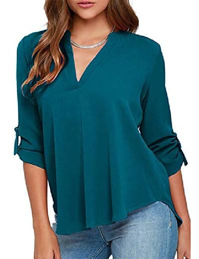 abordables NOUVELLE DANS-Chemise d'été en mousseline de soie de couleur unie pour femmes, chemises décontractées à manches longues, bleu clair, XL