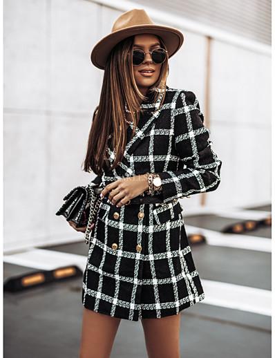 cheap Outerwear-Women's Coat Work Fall & Winter Long Coat Regular Fit Streetwear Jacket Long Sleeve Houndstooth Print Blue Khaki