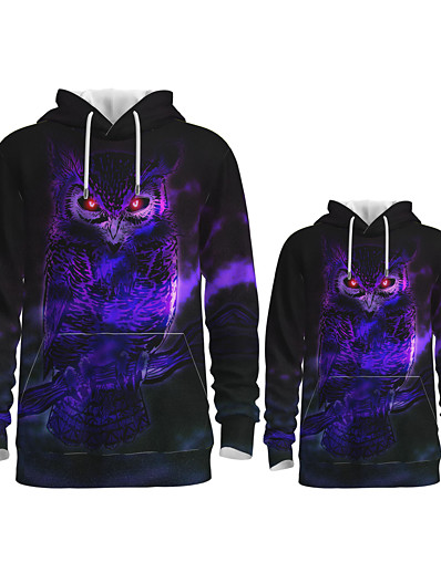 cheap Family Matching Outfits-Daddy and Me Active Owl Graphic 3D Print Animal Print Long Sleeve Regular Hoodie & Sweatshirt Purple