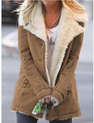 abordables Tendances 2021-vêtements d'extérieur chauds en laine denim à manches longues - rouge / xxl