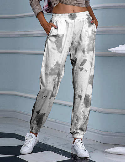 abordables Bas-Femme Punk & Gothique Des sports Ample Décontracté Pantalons Pantalon Teinture par Nouage Toute la longueur Bleu Violet Vert