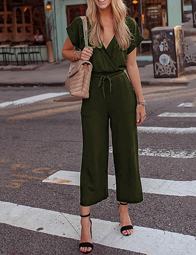 cheap Jumpsuits & Rompers-Women's Basic Deep V Black Army Green Dusty Blue Romper Color Block Solid Colored Lace up
