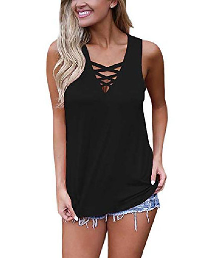 cheap Tank Tops-women's summer tank tops criss cross casual solid sleeveless lace up blouse (x-large, black)