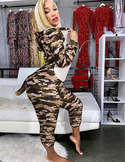 cheap Jumpsuits & Rompers-Women's Zipper Front Blushing Pink Army Green Khaki Jumpsuit Leopard Patchwork Print
