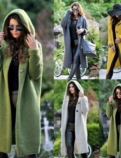 cheap Sweaters & Cardigans-Women's Solid Color Cardigan Long Sleeve Plus Size Sweater Cardigans Hooded Fall Winter White Yellow Green