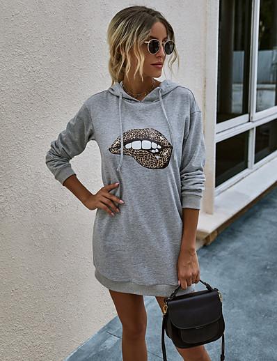 abordables NOUVELLE DANS-Femme Robe Droite Mini robe Courte - Manches Longues Imprimé Printemps Automne Simple Ample 2020 Blanche Noir Gris S M L XL