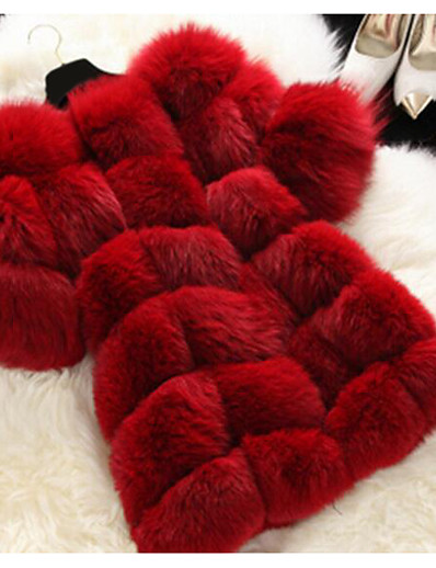 cheap Plus Size Outerwear-Women's Fur Coat Long Solid Color Party Evening Chic & Modern White Black Red S M L XL