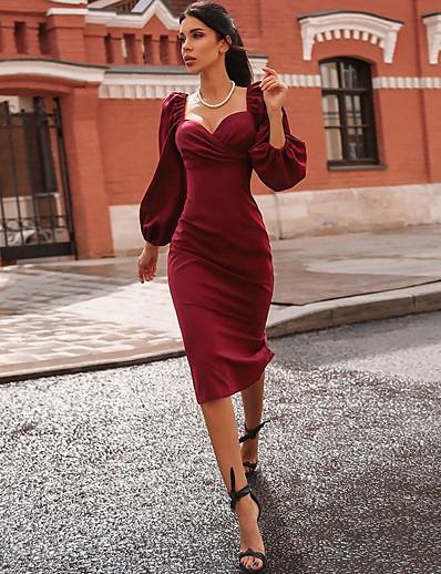 cheap 11/16/2020-Women's Sheath Dress Midi Dress - Long Sleeve Solid Color Fall Sexy 2020 Black Wine S M L
