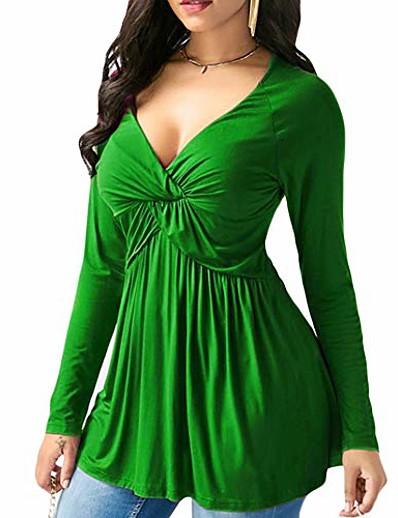 abordables Tops grande taille-Fanshonn mode féminine couleur unie col en v profond à manches longues évasé tunique plissée grande taille chemisier lâche tops vert