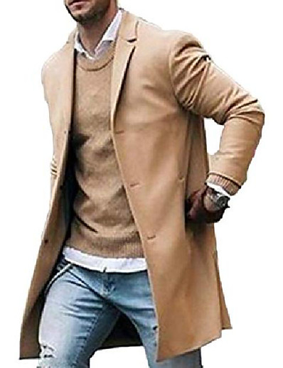 cheap Men's Outerwear-men trench coat wool slim fit notched collar overcoat single breasted long pea coat jacket (m, khaki)