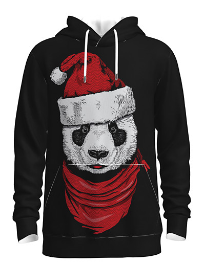 cheap NEW IN-Men's Pullover Hoodie Sweatshirt 3D Animal Patterned Graphic Hooded Christmas 3D Print Christmas Hoodies Sweatshirts  Long Sleeve Black