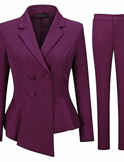 cheap OUTERWEAR-women's double breasted 2 piece suit set 2 button blazer jacket and pants burgundy